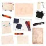 Grupo de folhas e de fotos de papel velhas do vintage Fotografia de Stock Royalty Free