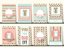 Grupo de folhetos das felicitações no estilo do vintage Vetor eps10 ilustração royalty free