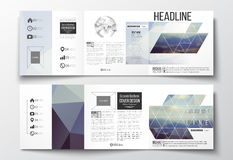 Grupo de folhetos dobráveis em três partes, moldes quadrados do projeto Imagens de Stock