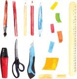 Grupo de fontes do escritório e de escola, pintado na aquarela - Fotos de Stock
