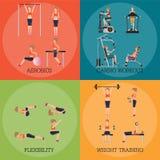 Grupo de força aeróbia e de corpo da aptidão que dão forma a exercícios Imagem de Stock Royalty Free
