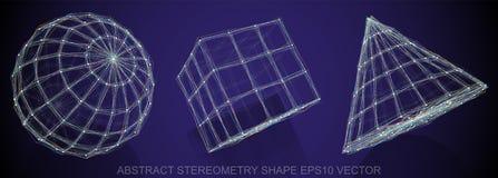 Grupo de forma abstrata do stereometry: esfera esboçada, cubo, cone Objetos 3D poligonais tirados mão EPS 10, Imagens de Stock Royalty Free