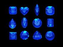 Grupo de forma azul del zafiro con la trayectoria de recortes Imágenes de archivo libres de regalías