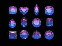 Grupo de forma bicolor del tourmaline (del azul rosado) con la palmadita del recortes Foto de archivo libre de regalías