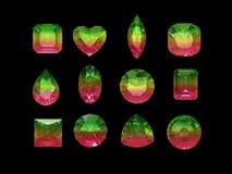 Grupo de forma bicolor del tourmaline (del verde rosado) con acortar el PA Fotografía de archivo