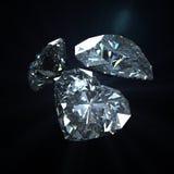 Grupo de forma del corazón del diamante con la trayectoria de recortes Foto de archivo libre de regalías
