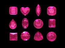 Grupo de forma rosada del tourmaline con la trayectoria de recortes Foto de archivo
