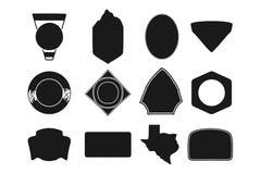Grupo de formas de acampamento pretas do crachá Ícone incluído da silhueta do estado de Texas Objetos conservados em estoque do v fotografia de stock