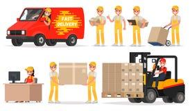 Grupo de fornecimento de serviços Pessoal: operador, motorista, correio, loade Fotografia de Stock
