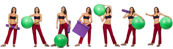 Grupo de fotos com a bola modelo e suíça Imagem de Stock