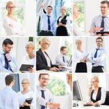 Grupo de fotos com os dois sócios comerciais em situações diferentes Foto de Stock Royalty Free