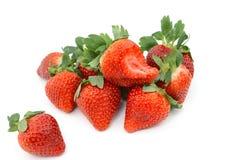 Grupo de fresa fresca en el fondo blanco Imagen de archivo libre de regalías