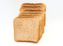 Grupo de fresco cortado do pão para brindar isolado no fundo branco Fim acima Vista superior fotos de stock royalty free