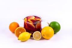 Grupo de frutas cítricas con una garrafa de la limonada en un fondo blanco Fotografía de archivo