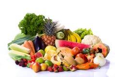 Grupo de frutas e legumes Fotos de Stock Royalty Free