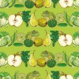 Grupo de frutas e legumes verdes na luz - teste padrão verde Foto de Stock Royalty Free