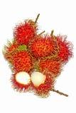 Grupo de fruto fresco do rambutan no fundo branco Fotografia de Stock