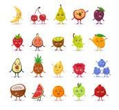 Grupo de frutos bonitos engraçados dos desenhos animados imagens de stock
