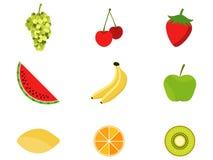 Grupo de frutos em um estilo liso Frutos e bagas, citrino Ícones no fundo branco Vetor Fotografia de Stock Royalty Free