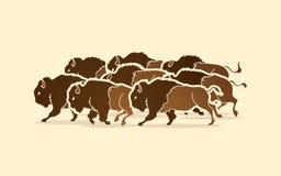 Grupo de funcionamiento del búfalo libre illustration