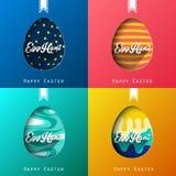 Grupo de fundo colorido feliz de easter de quatro ovos Imagens de Stock Royalty Free