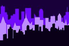 Grupo de fundo da arquitetura da cidade Bandeira horizontal com panorama dos megapolis Imagens de Stock