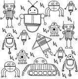 Grupo de fundo dos robôs dos desenhos animados Fotos de Stock Royalty Free