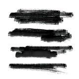 Grupo de fundo preto do vetor do curso da escova de pintura ilustração stock