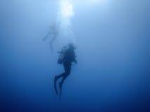 Grupo de fundo subaquático dos mergulhadores Imagens de Stock