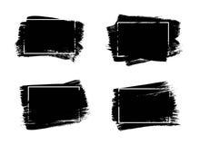 Grupo de fundo universal da pintura do preto do grunge com quadro Elementos artísticos sujos do projeto, caixas, quadros para o t ilustração stock