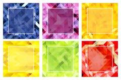 Grupo de fundos abstratos em cores tropicais ilustração do vetor