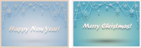 Grupo de fundos azuis do inverno cênico com grânulos e flocos de neve ilustração do vetor