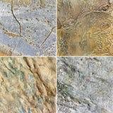 Grupo de fundos das paredes de pedra com rachaduras Fotografia de Stock
