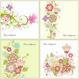 Grupo de fundos florais Fotos de Stock Royalty Free
