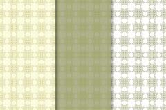 Grupo de fundos florais do verde azeitona Testes padrões sem emenda Imagem de Stock Royalty Free