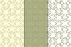 Grupo de fundos florais do verde azeitona Testes padrões sem emenda Imagens de Stock Royalty Free