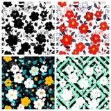 Grupo de fundos florais sem emenda Teste padrão floral sem emenda com ilustração stock
