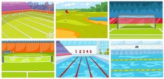 Grupo de fundos - infraestrutura dos desenhos animados do esporte ilustração stock