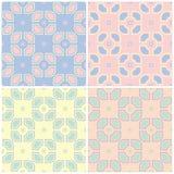 Grupo de fundos sem emenda coloridos desvanecidos com testes padrões geométricos Imagem de Stock