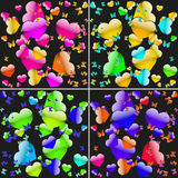 Grupo de fundos sem emenda com corações e as borboletas coloridos Foto de Stock Royalty Free