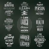 Grupo de fundos tipográficos do vintage/citações inspiradores Fotografia de Stock