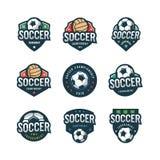 Grupo de futebol, logotipos do futebol Emblemas do esporte Ilustração do vetor ilustração stock