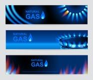 Grupo de gás natural de três bandeiras Flama azul do gás ilustração do vetor