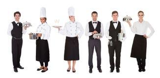 Grupo de garçom e de empregada de mesa imagens de stock royalty free