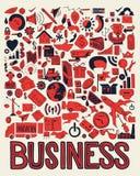 Grupo de garatuja do negócio do desenho da mão no fundo branco Imagens de Stock