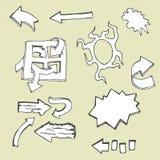 Grupo de garatuja do vetor que tira setas abstratas e símbolos Imagem de Stock