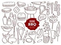 Grupo de garatujas do BBQ Imagem de Stock Royalty Free