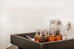 Grupo de garrafa da loção de Skincare com toalhas Fotografia de Stock