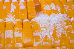 Grupo de garrafa do suco de laranja Fotos de Stock