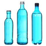 Grupo de garrafas azuis Fotografia de Stock